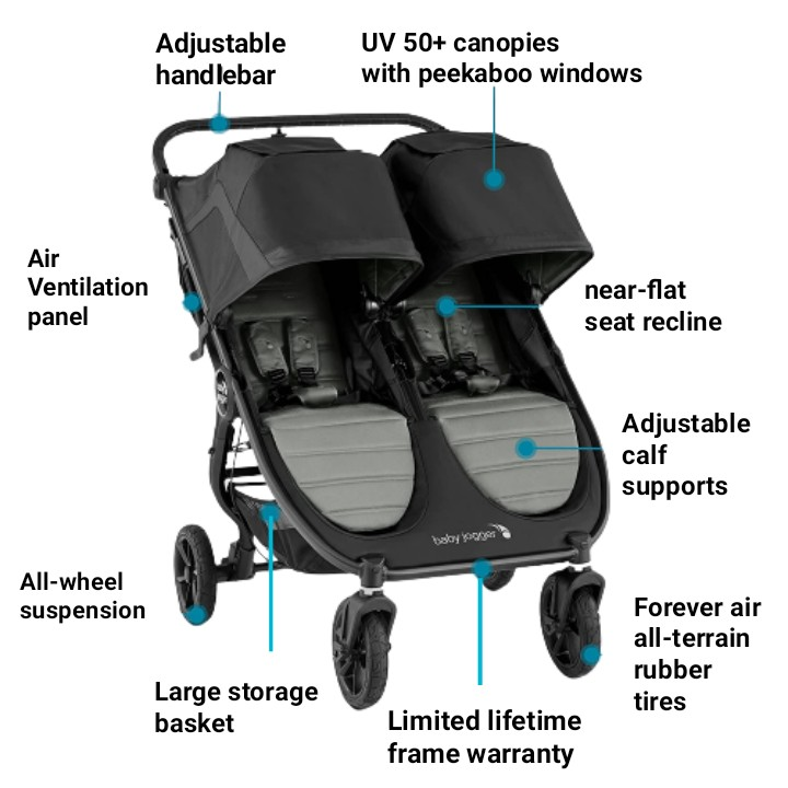 baby jogger city mini gt2 double stroller features